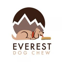 Logo cartoon dog with mountain in background