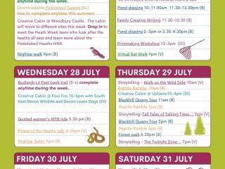 Poster listing Heath Week events