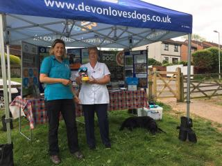 Julie and Kathryn at the Devon Loves Dogs gazebo