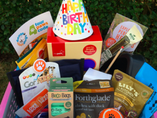 Prize hamper of dog goodies