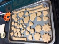 Raw dog biscuits on baking tray