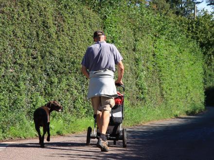 Man walking his dog, pushing a pushchair